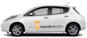An electric car available from Carrot.mx